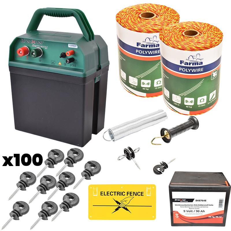 Kit complet gard electric 0.38J, 9V, 90Ah, fir electric 1000M, 100 izolatori, kit poarta si placuta Breckner Germany