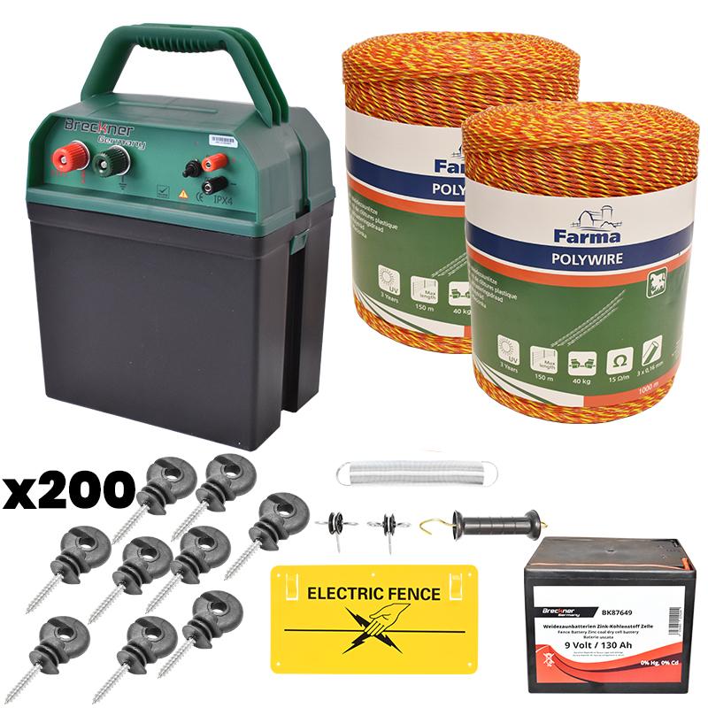 Kit complet gard electric 0.38J, 9V, 135Ah, fir electric 2000M, 200 izolatori, kit poarta si placuta Breckner Germany
