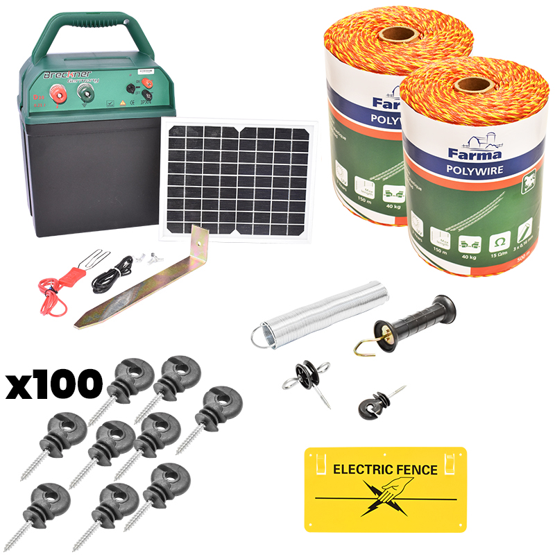 Kit complet gard electric 0.38J cu panou solar, fir electric 1000M, 100 izolatori, kit poarta si placuta Breckner Germany
