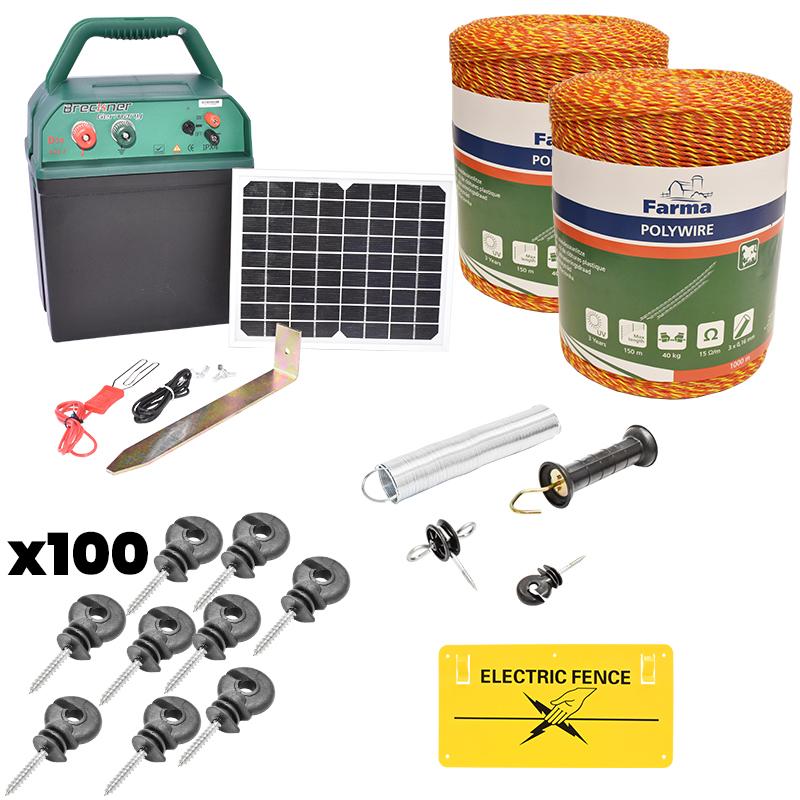 Kit complet gard electric 0.38J cu panou solar, fir electric 2000M, 200 izolatori, kit poarta si placuta Breckner Germany