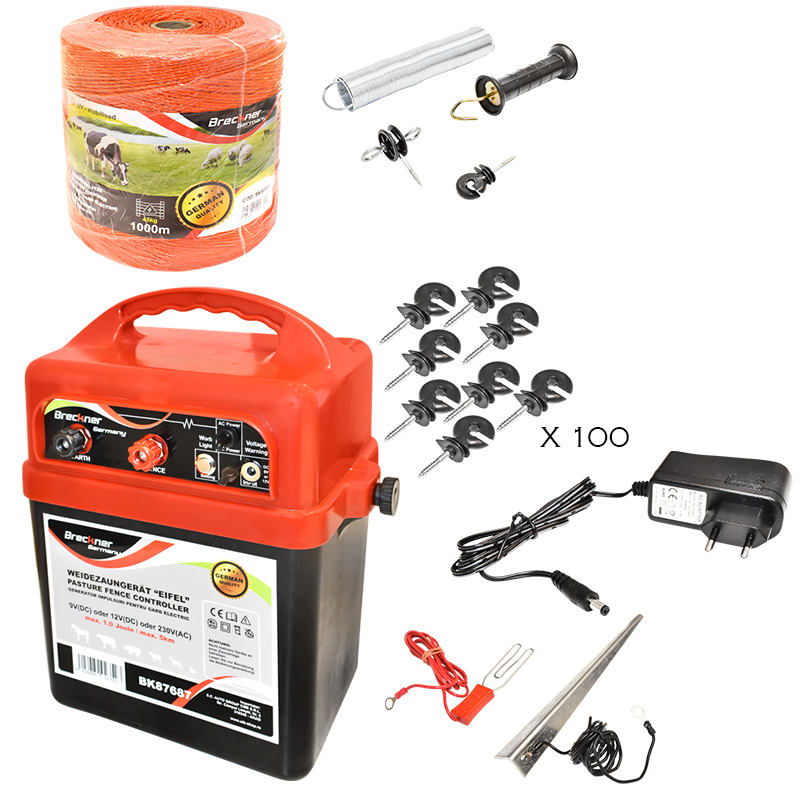 Kit complet gard electric la retea 220V, 1 Joule, fir electric 1000m, 100 izolatori, 1 kit poarta, impamantare Breckner Germany