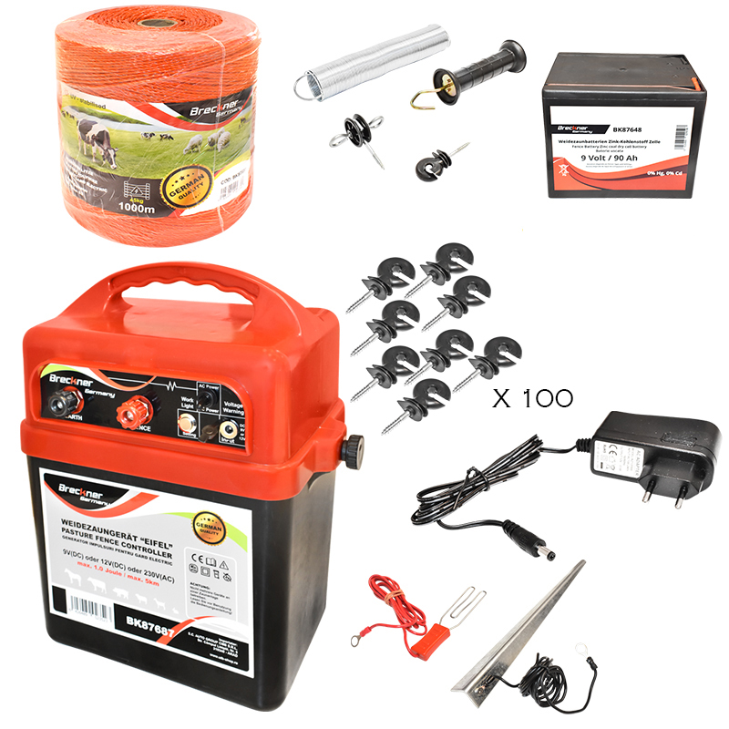 Kit complet gard electric cu baterie 9V 90Ah, 1 Joule, fir electric 1000m, 100 izolatori, 1 kit poarta, impamantare Breckner Germany