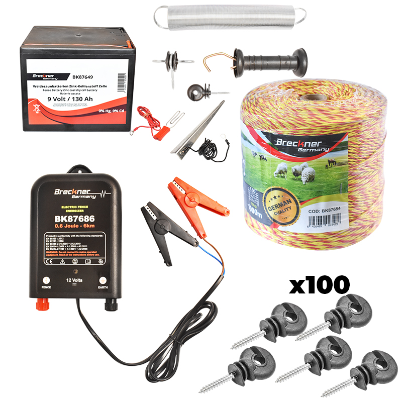 Kit complet gard electric 0.6 Joule, baterie 130Ah, 1km fir electric